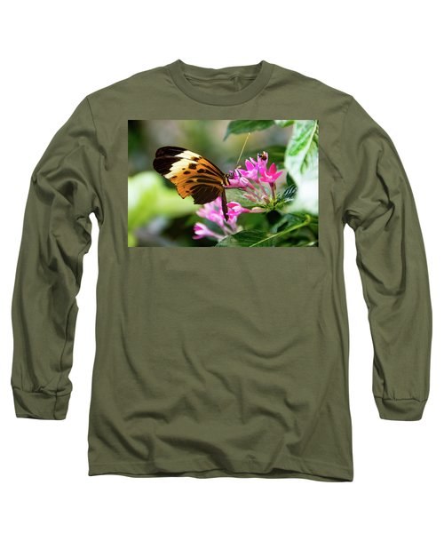 Tiger Longwing Butterfly Drinking Nectar  Long Sleeve T-Shirt