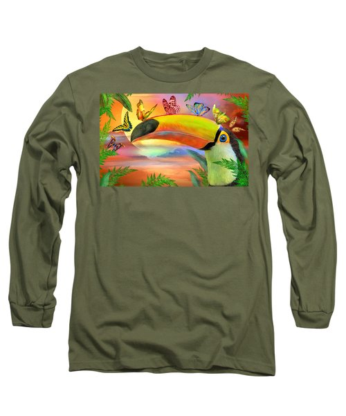 Long Sleeve T-Shirt featuring the mixed media Toucan And Butterflies by Carol Cavalaris