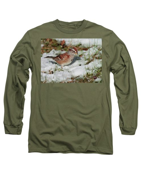Tree Sparrow In Snow Long Sleeve T-Shirt