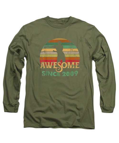 Vintage Flossing Awesome Since 2009 10th Yrs Birthday Gifts Long Sleeve T-Shirt