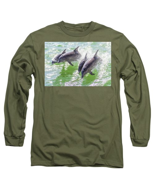 Wake Surfing Dolphin Family Long Sleeve T-Shirt