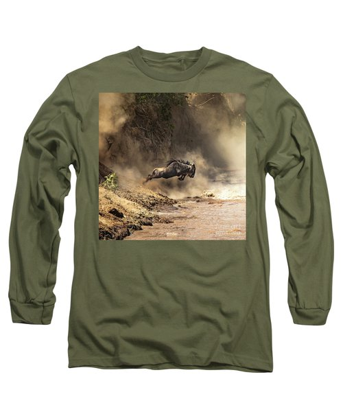 Wildebeest Leaps From The Bank Of The Mara River Long Sleeve T-Shirt