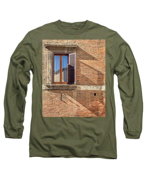 Window Shutter Shadow Of Tuscany Long Sleeve T-Shirt