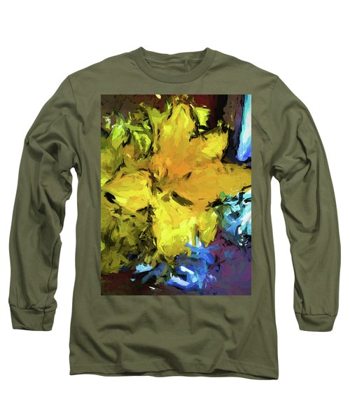 Yellow Flower And The Eggplant Floor Long Sleeve T-Shirt
