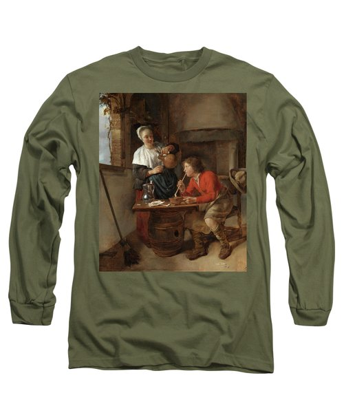 Young Man Smoking And A Woman Pouring Beer Long Sleeve T-Shirt