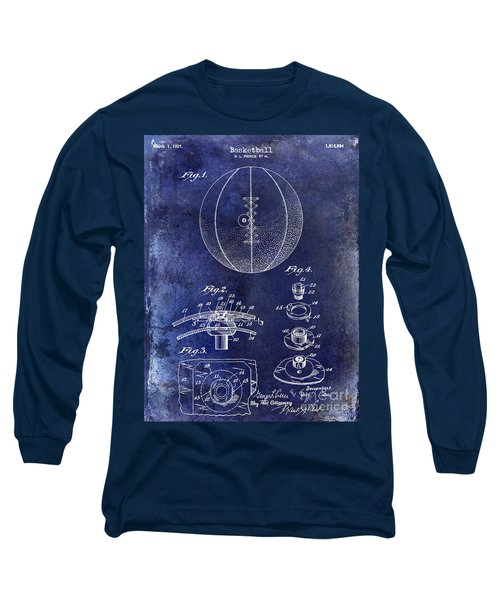 1927 Basketball Patent Drawing Blue Long Sleeve T-Shirt