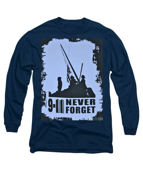 911 Poster In Black And White Long Sleeve T-Shirt