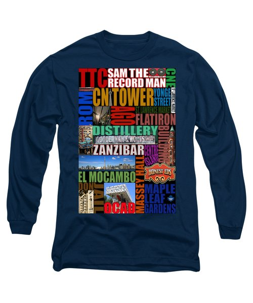 Toronto Typography Long Sleeve T-Shirt by Andrew Fare