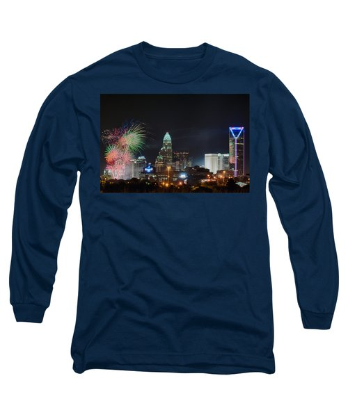 4th Of July Firework Over Charlotte Skyline Long Sleeve T-Shirt