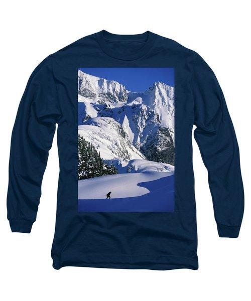 A Female Snowboarder Hiking Long Sleeve T-Shirt