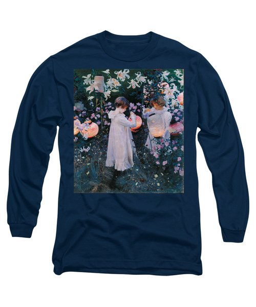 Carnation Lily Lily Rose Long Sleeve T-Shirt by John Singer Sargent