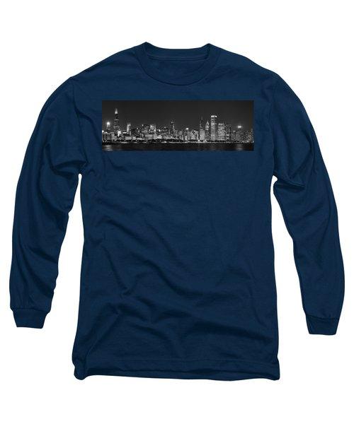 Chicago Skyline At Night Black And White Panoramic Long Sleeve T-Shirt by Adam Romanowicz