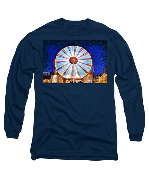 Long Sleeve T-Shirt featuring the painting Christmas Ferris Wheel by George Atsametakis