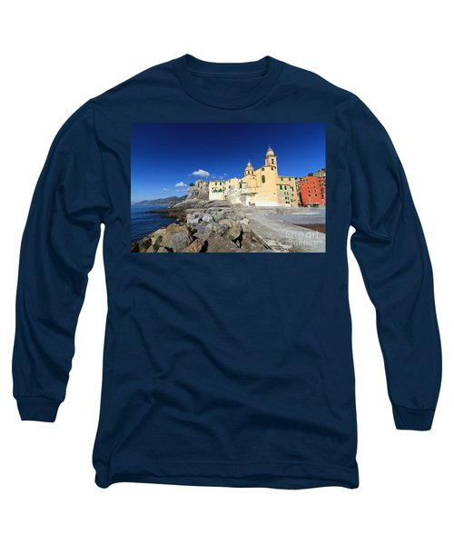 Long Sleeve T-Shirt featuring the photograph church in Camogli by Antonio Scarpi