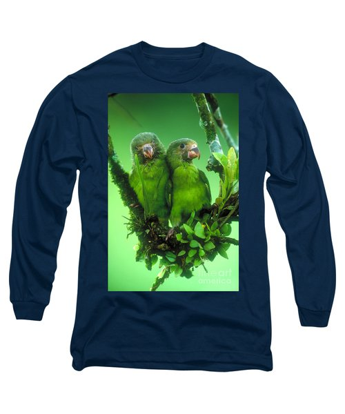 Cobalt-winged Parakeets Long Sleeve T-Shirt by Art Wolfe