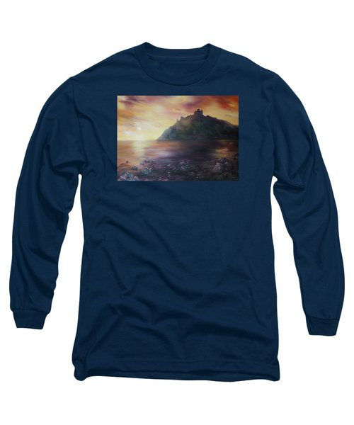 Long Sleeve T-Shirt featuring the painting Criccieth Castle North Wales by Jean Walker