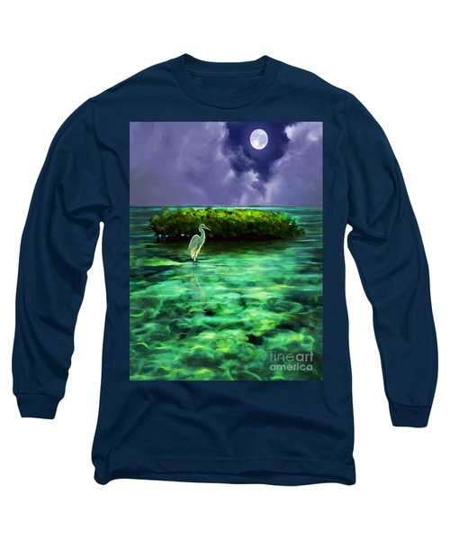 Long Sleeve T-Shirt featuring the painting Full Moon Fishing by David  Van Hulst