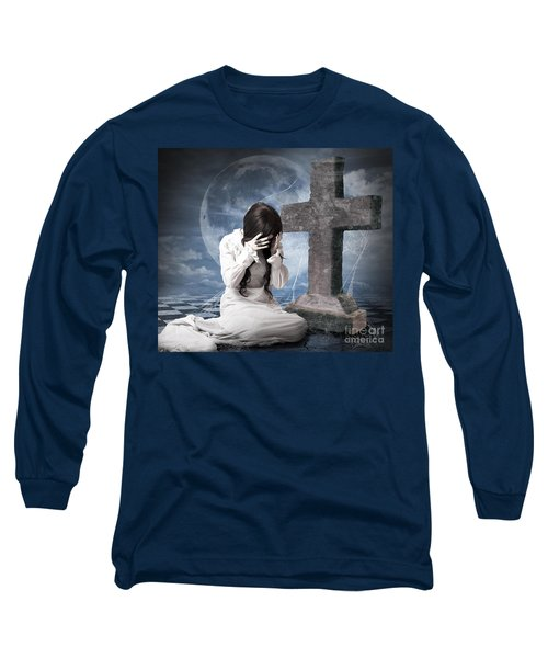 Grieving Gothic Girl Crying Next To Gravestone Long Sleeve T-Shirt