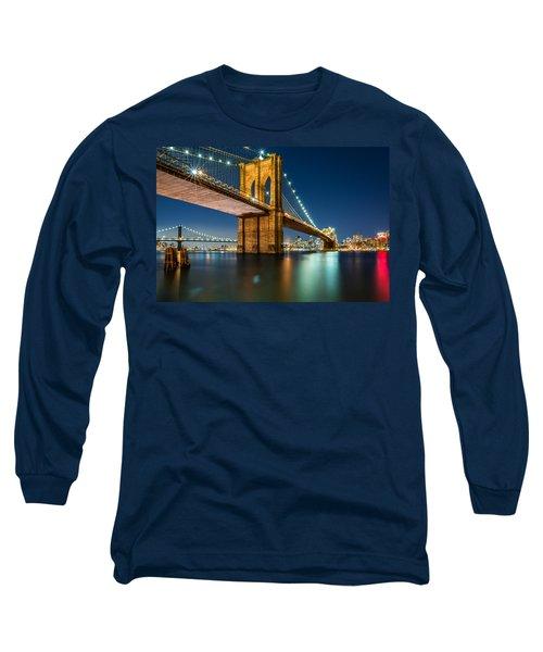 Illuminated Brooklyn Bridge By Night Long Sleeve T-Shirt
