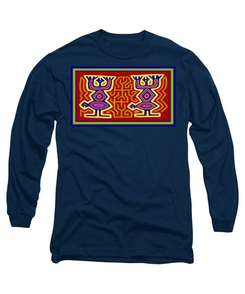 Long Sleeve T-Shirt featuring the digital art Kuna Bird Spirits by Vagabond Folk Art - Virginia Vivier