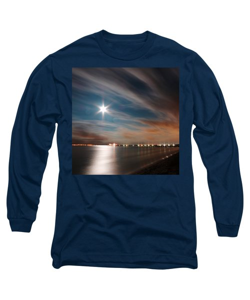 Moon Rise Over Anna Maria Island Historic City Pier Long Sleeve T-Shirt