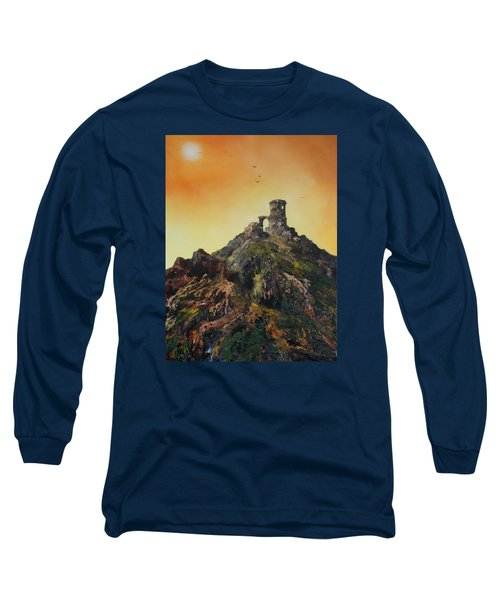 Long Sleeve T-Shirt featuring the painting Mow Cop Castle Staffordshire by Jean Walker