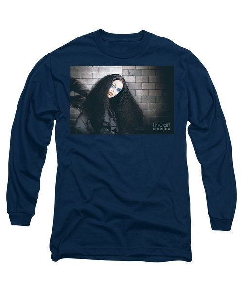 Occult Medieval Performer On Castle Brick Wall Long Sleeve T-Shirt