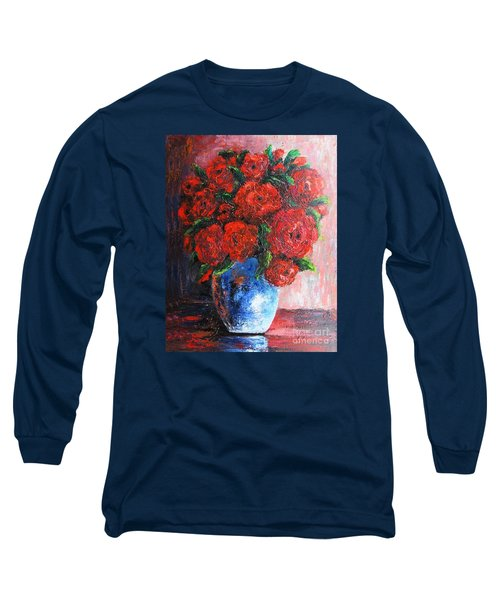 Long Sleeve T-Shirt featuring the painting Red Scent by Vesna Martinjak