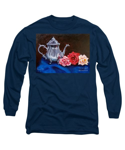 Teapot And Roses Long Sleeve T-Shirt