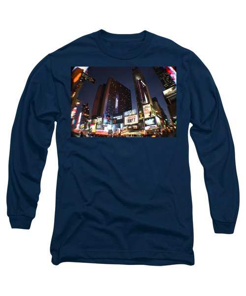 Times Square Nyc Long Sleeve T-Shirt by Rogerio Mariani