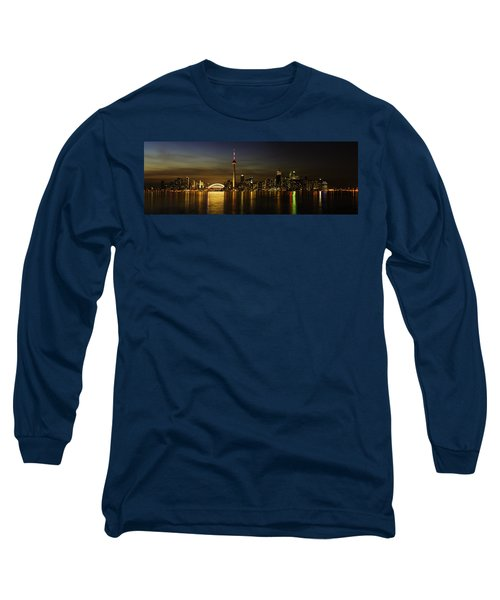 Toronto Evening Sky Line Panorama Long Sleeve T-Shirt