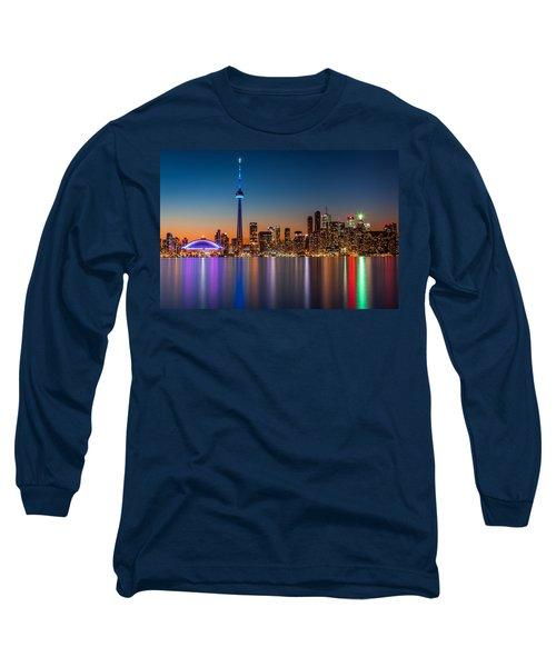 Toronto Skyline At Dusk Long Sleeve T-Shirt