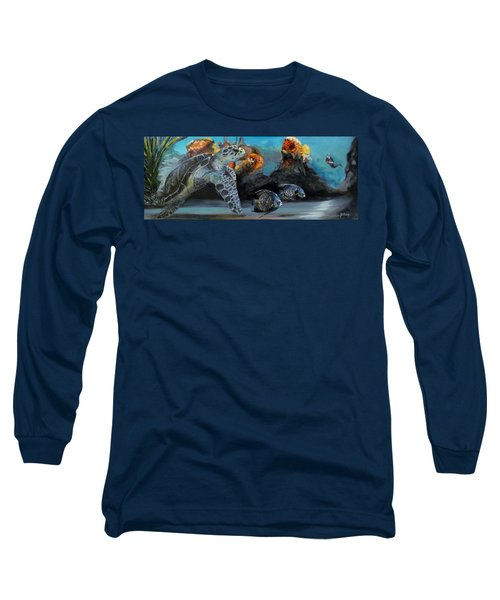 Long Sleeve T-Shirt featuring the painting Underwater Beauty by Donna Tuten