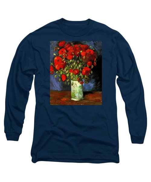 Vase With Red Poppies Long Sleeve T-Shirt
