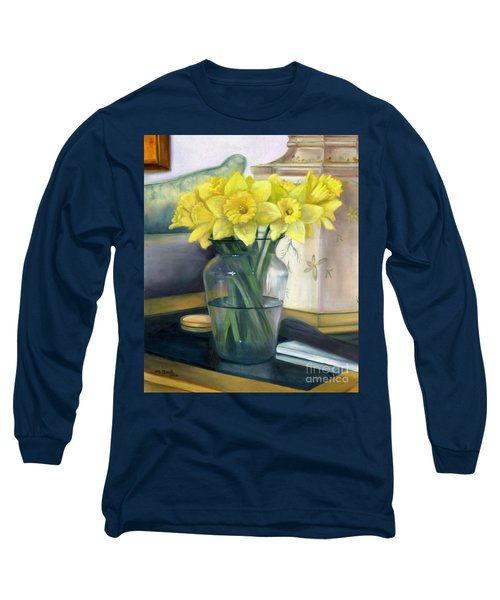 Yellow Daffodils Long Sleeve T-Shirt by Marlene Book