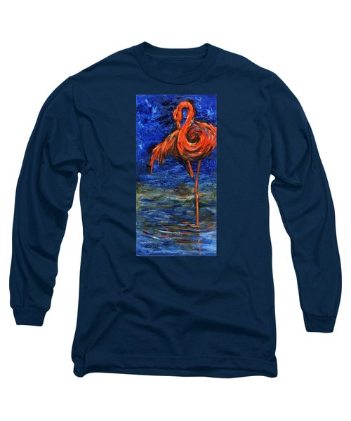 Long Sleeve T-Shirt featuring the painting Flamingo by Xueling Zou
