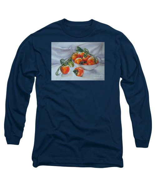 Long Sleeve T-Shirt featuring the painting Summer Harvest  1 Persimmon Diospyros by Sandra Phryce-Jones