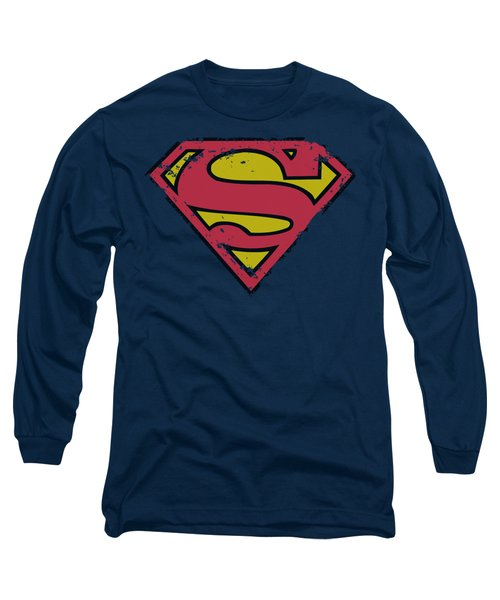 Superman - Distressed Shield Long Sleeve T-Shirt