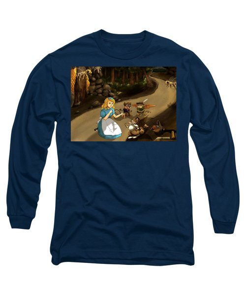 Long Sleeve T-Shirt featuring the painting Tammy Meets Cedric The Mongoose by Reynold Jay