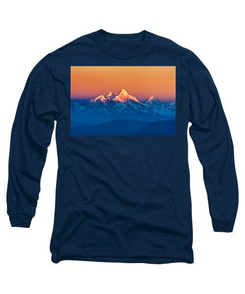 Himalayan Mountains View From Mt. Shivapuri Long Sleeve T-Shirt by Ulrich Schade