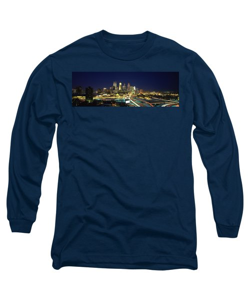 Buildings Lit Up At Night In A City Long Sleeve T-Shirt