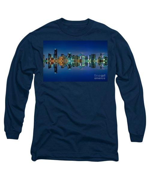Miami Skyline At Night Long Sleeve T-Shirt by Carsten Reisinger