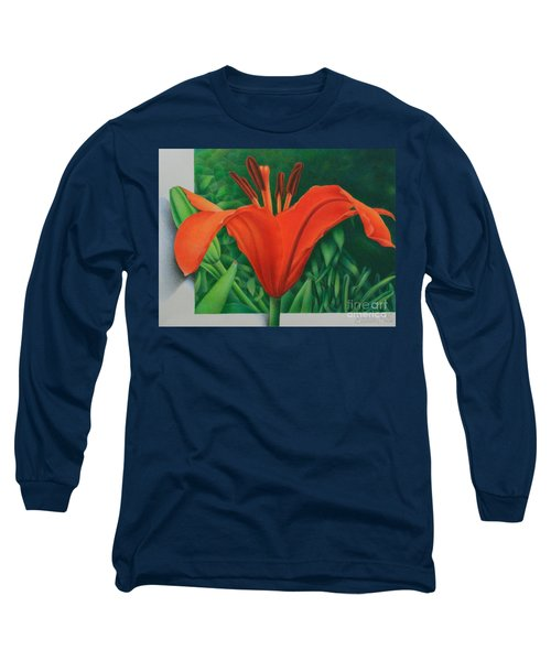 Orange Lily Long Sleeve T-Shirt by Pamela Clements