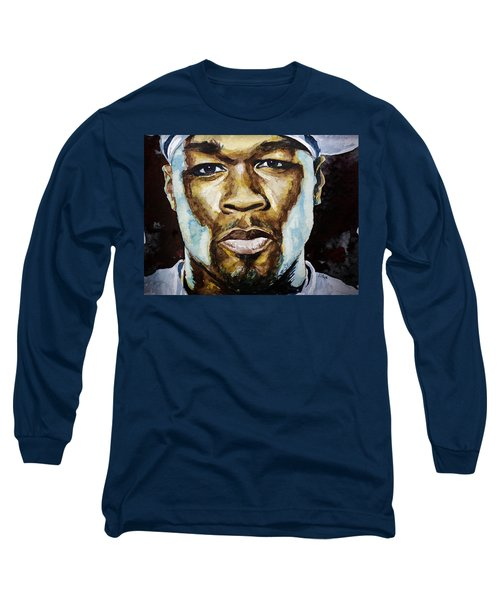 Long Sleeve T-Shirt featuring the painting 50 Cent by Laur Iduc