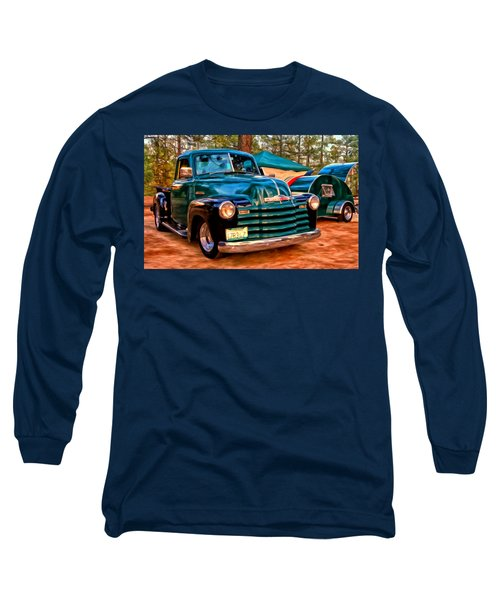 Long Sleeve T-Shirt featuring the painting '51 Chevy Pickup With Teardrop Trailer by Michael Pickett