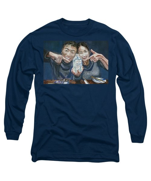 Long Sleeve T-Shirt featuring the painting A Happy Birthday by Anna Ruzsan