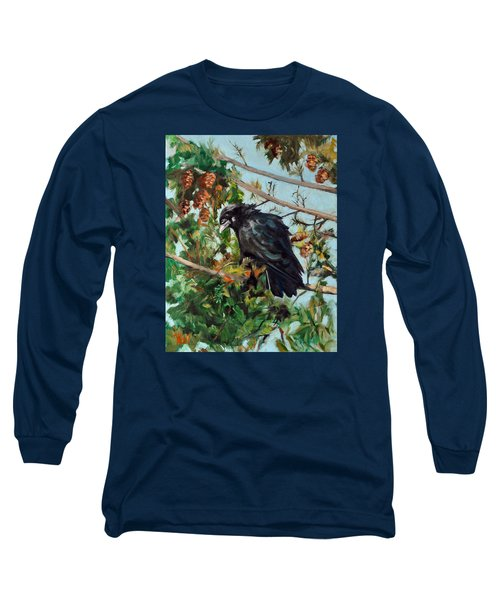 A Perch For Nevermore Long Sleeve T-Shirt by Pattie Wall