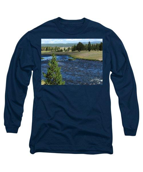 A River Runs Through Yellowstone Long Sleeve T-Shirt by Laurel Powell