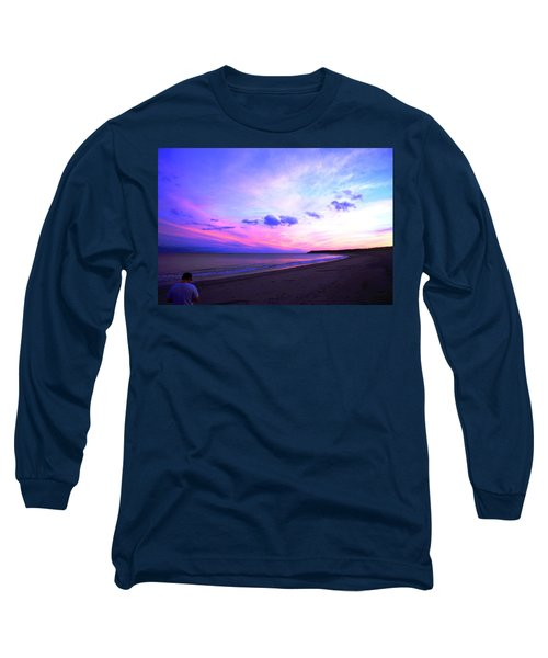 Long Sleeve T-Shirt featuring the photograph A Walk On The Beach by Jason Lees