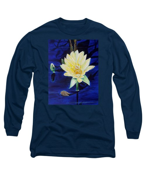 Long Sleeve T-Shirt featuring the painting A Waterlily by Marilyn  McNish